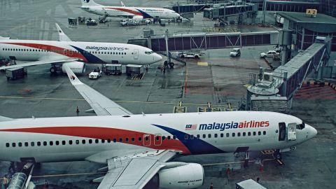 Malaysian Airlines aircraft at the Kuala Lumpur International airport.