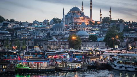 <strong>Istanbul: </strong>The Süleymaniye Mosque, completed in 1558, rises over the Golden Horn estuary, which is bustling with boats on an evening in May. <br />
