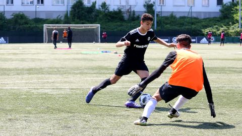 Young footballers take part in a trial with Red Star.