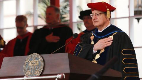 C. L. Max Nikias attends the commencement ceremony at Alumni Park at USC on May 11, 2018 in Los Angeles, California.