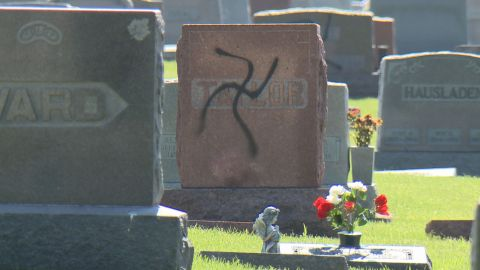 A vandalized cemetery tombstone in Glen Carbon, Illinois.
