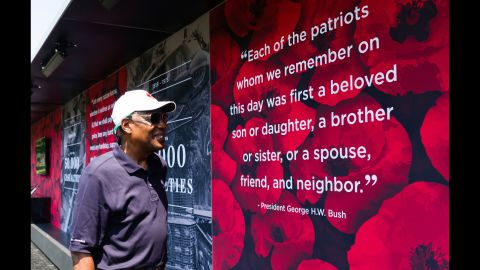 """United States Air Force General (Ret.) and USAA Chairman Lester L. Lyles observes exhibit at the """"Poppy Memorial,"""" on Saturday, May 26, 2018 in Washington. (Rodney Choice/AP Images for USAA)"""