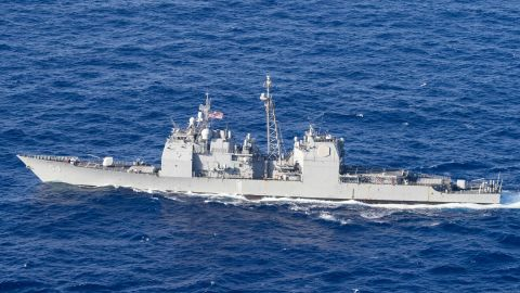180314-N-ZL062-0174 PHILIPPINE SEA (March 14, 2018) The Ticonderoga-class guided-missile cruiser USS Antietam (CG 54) transits the Philippine Sea for the completion of MultiSail 2018. MultiSail is a bilateral training exercise improving interoperability between the U.S. and Japanese forces. This exercise benefits from realistic, shared training enhancing our ability to work together to confront any contingency. (U.S. Navy photo by Mass Communication Specialist 3rd Class Sarah Myers/Released)