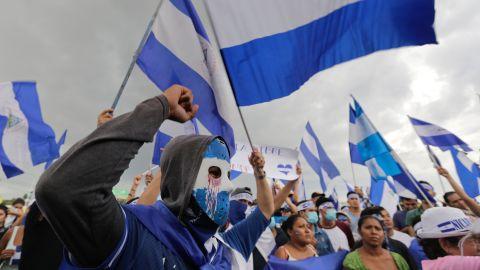 Anti-government demonstrators protest Saturday in Managua.