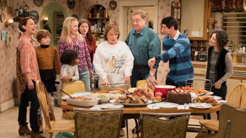 """ROSEANNE - """"Knee Deep"""" - Roseanne's knee gets worse so Dan is forced to a make an important work decision; but when a major storm hits Lanford, their fortunes change for the better. Later, Darlene realizes she has to go back to her first passion . writing, on the ninth episode and season finale of the revival of """"Roseanne,"""" TUESDAY, MAY 22 (8:00-8:30 p.m. EDT), on The ABC Television Network. (ABC/Adam Rose) LAURIE METCALF, AMES MCNAMARA, JAYDEN REY, LECY GORANSON, EMMA KENNEY, ROSEANNE BARR, JOHN GOODMAN, MICHAEL FISHMAN, SARA GILBERT"""