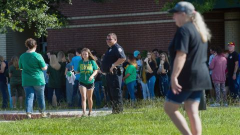 There was a strong law enforcement prescence at Santa Fe High on Tuesday.