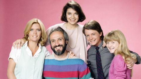 "From left, Meredith Baxter as Elyse Keaton, Michael Gross as Steven Keaton, Justine Bateman as Mallory Keaton, Michael J. Fox as Alex P. Keaton, Tina Yothers as Jennifer Keaton in Season 3 of ""Family Ties."""