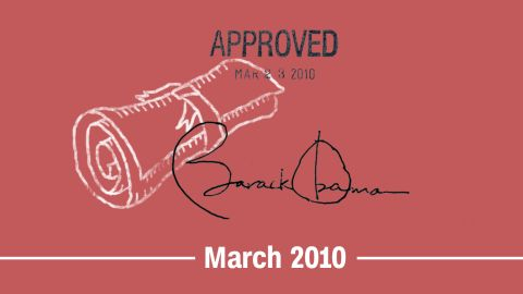 """March 2010 -- The Affordable Care Act (ACA), also known as Obamacare, <a href=""""https://www.gpo.gov/fdsys/granule/PLAW-111publ148/PLAW-111publ148/content-detail.html"""" target=""""_blank"""" target=""""_blank"""">becomes law</a>. Section 1557 of the act bans discrimination based on sex and other characteristics in federally funded health care programs and activities. It does not explicitly interpret sex to include gender identity, but courts will interpret it that way in coming years.<br />"""
