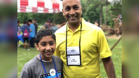 Atman Balakrishnan, 12, with his dad, Balu Natarajan.