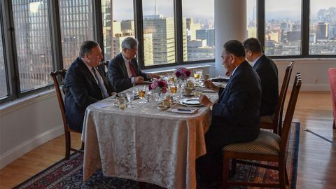 """In a tweet posted to Mike Pompeo's official Twitter account, the Secretary of State described the meeting as a """"good working dinner"""" noting that """"steak, corn and cheese"""" was on menu."""