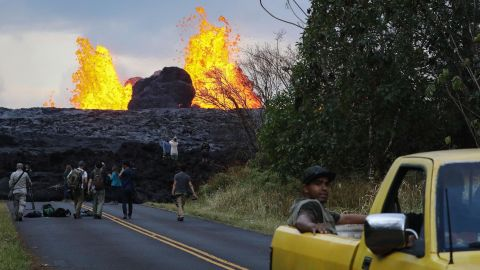 Lava from a Kilauea volcano fissure erupts in Leilani Estates, on Hawaii's Big Island, on May 26.