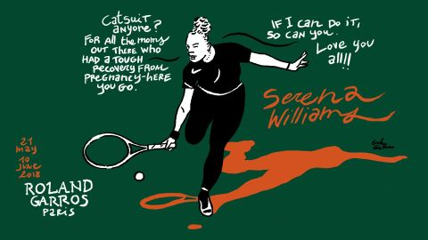 """Serena Williams turned heads in a black catsuit in her first-round match at Roland Garros, saying it made her feel like a """"warrior princess."""" She also said it helped with ongoing blood clots following the birth of her daughter last year."""