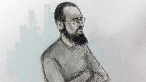 An artist's sketch shows Husnain Rashid during his trial.