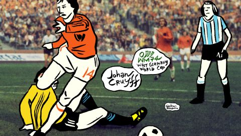 Dutch great Johan Cruyff scored three goals in the 1974 World Cup, twice against Argentina in the second round and then against Brazil in a 2-0 win that sent Holland through to the final.