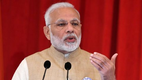 Indias Prime Minister Narendra Modi speaks during a joint press conference with Singapore's Prime Minister Lee Hsien Loong at the Istana presidential palace in Singapore on June 1, 2018. (Photo by ROSLAN RAHMAN / AFP)        (Photo credit should read ROSLAN RAHMAN/AFP/Getty Images)