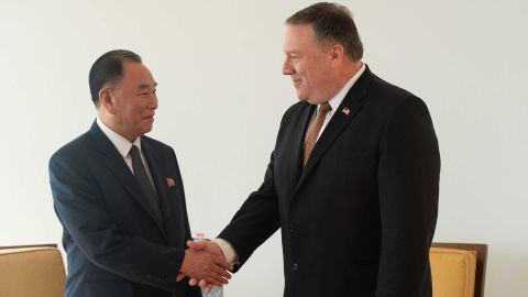North Korea Vice-Chairman Kim Yong Chol shakes hands with United States Secretary of State Mike Pompeo on May 31, 2018 in New York. - US Secretary of State Mike Pompeo resumed talks in New York on Thursday with a top North Korean official as the pair work to salvage next month's nuclear summit between Donald Trump and Kim Jong Un, an AFP journalist on the scene said.Kim Yong Chol, considered the North Korean leader's right-hand man, is the most senior official from Pyongyang to visit the United States in 18 years. (Photo by Bryan R. Smith / AFP)        (Photo credit should read BRYAN R. SMITH/AFP/Getty Images)