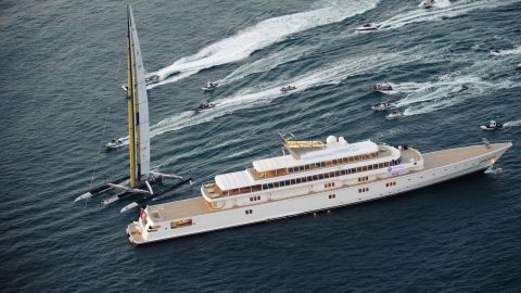 """Rising Sun, previously owned by Oracle founder Larry Ellison, is seen during the 2010 America's Cup off  the coast of Valencia, Spain. The superyacht was sold to music industry mogul David Geffen for <a href=""""https://www.forbes.com/pictures/emeg45jmim/rising-sun-yacht/#6e9d92c7706f"""" target=""""_blank"""" target=""""_blank"""">a reported fee of $590 million</a> in 2010."""