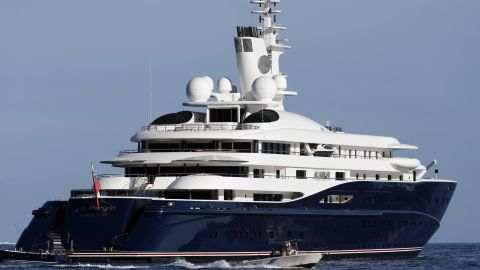 The 133-meter yacht Al Mirqab -- owned by Qatar's former prime minister Hamad Bin Jassim  Al Thani -- was built in 2008 and contains a movie theater, indoor swimming pool and helipad.