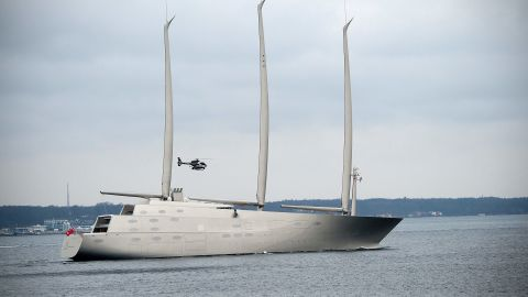 """The luxury sail-assisted motor yacht <a href=""""https://www.cnn.com/2015/10/05/sport/sailing-yacht-a-super-yacht-andrey-melnichenko/index.html"""">Sailing Yacht A</a> is estimated to have cost $450 million. Owned by Russian industrialist Andrey Melnichenko, it was built in Kiel, Germany and designed by Philippe Starck. The yacht's masts measure 100 meters tall -- higher than the Statue of Liberty --  and at 143 meters long, it <a href=""""https://edition.cnn.com/2017/02/08/sport/sailing-yacht-a-andrey-melnichenko/index.html"""">is the eighth longest superyacht in the world. </a>"""