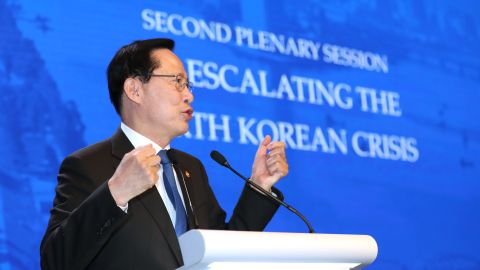 Song Young-moo, South Korea's defense minister, speaks during the IISS Shangri-La Dialogue Asia Security Summit in Singapore, on Saturday, June 2, 2018.