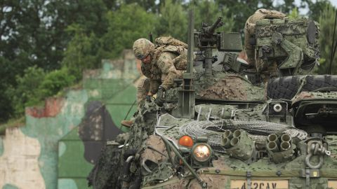 US Army Europe squadron prepares for a tactical march through Poland as part of Saber Strike 2018.