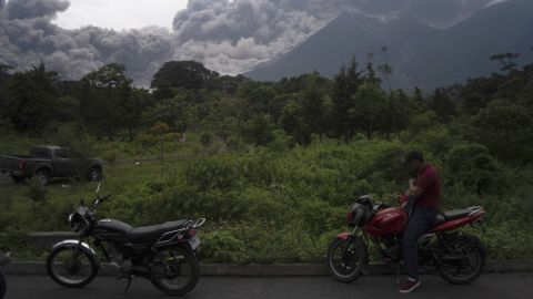 The volcano blows out a thick cloud of ash on June 3.