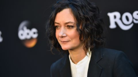 """BURBANK, CA - MARCH 23:  Sara Gilbert attends the premiere of ABC's """"Roseanne"""" at Walt Disney Studio Lot on March 23, 2018 in Burbank, California.  (Photo by Alberto E. Rodriguez/Getty Images)"""