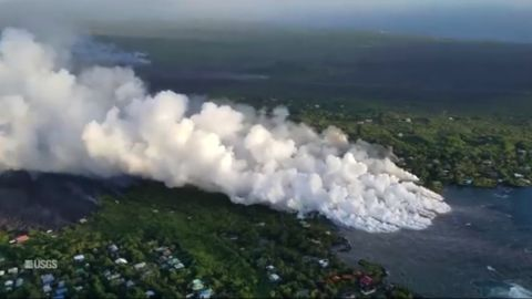 Helicopter overflight on June 4, showed lava from fissure 8 entering the ocean at Kapoho Bay.