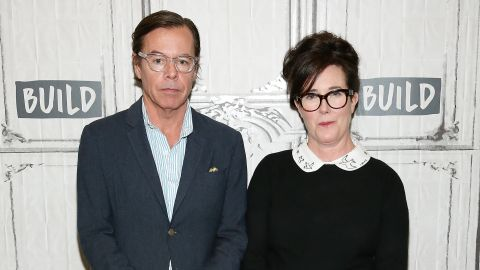 NEW YORK, NY - APRIL 28: Andy Spade (L) and Kate Spade attend Build Series Presents Kate Spade and Andy Spade Discussing Their Latest Project Frances Valentine at Build Studio on April 28, 2017 in New York City.  (Photo by Monica Schipper/WireImage)