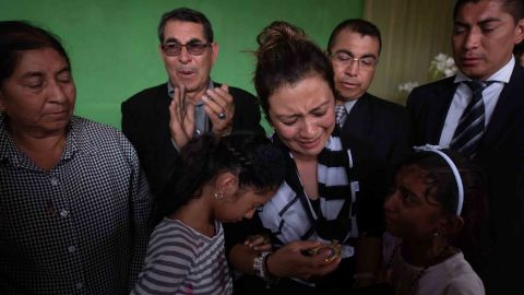 Mariela de los Angeles Carrillo de Galindo receives a post-mortem recognition after her husband, Juan Fernando Galindo, was killed after the volcano erupted. He was a local representative of the National Coordinator for Disaster Reduction.