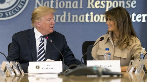 President Donald Trump, accompanied by first lady Melania Trump, speaks at a briefing on this year's hurricane season at the Federal Emergency Management Agency Headquarters, Wednesday, June 6, 2018, in Washington. (AP/Andrew Harnik)