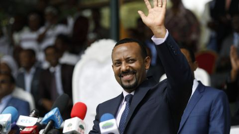 New Ethiopian Prime Minister Abiy Ahmed during a rally in Ambo town, west of Addis Ababa, Ethiopia, on April 11, 2018.