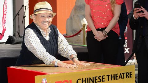 in 2013, Jerry Maren placed his handprints in cement outside Hollywood's Chinese Theatre.