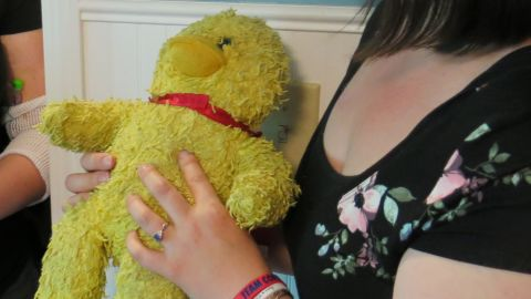 Emmy's mother, Tiffanie Reeves, clutched Ducky throughout the transplant. The stuffed animal was given to Emmy when she was first diagnosed with type 1 diabetes.
