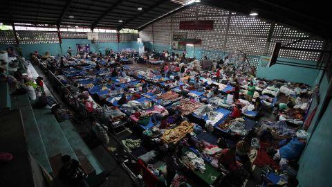 People take refuge at a shelter in Escuintla on June 6.