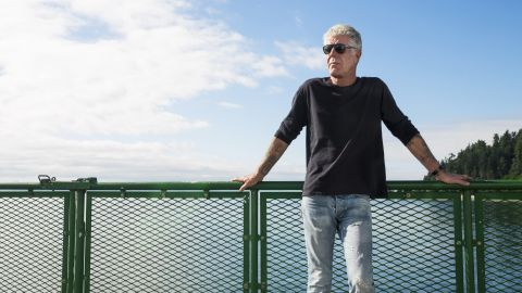 Anthony Bourdain on the ferry to Vashon Island while filming Parts Unknown in Seattle, Washington on July 27, 2017.