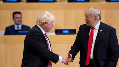 British Foreign Secretary Boris Johnson (L) and US President Donald Trump greet before a meeting on United Nations Reform at UN headquarters in New York on September 18, 2017. / AFP PHOTO / Brendan Smialowski        (Photo credit should read BRENDAN SMIALOWSKI/AFP/Getty Images)