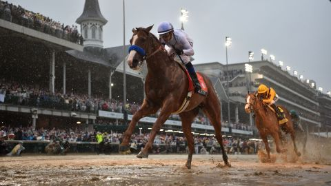 Justify, with jockey Mike Smith, wins the 2018 Kentucky Derby at Churchill Downs on May 5, 2018, in Louisville, Kentucky.