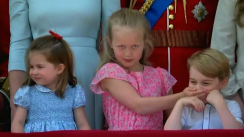 Savannah Phillips and Prince George at Trooping of Colour.