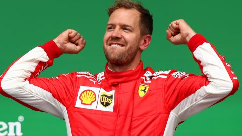Sebastian Vettel's 50th career victory saw him replace Lewis Hamilton at the top of the championship standings to cap an emotional day for the Ferrari team.