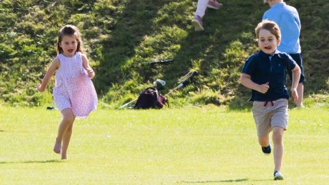 Prince George of Cambridge and Princess Charlotte of Cambridge attend the Maserati Royal Charity Polo Trophy at Beaufort Park on June 10, 2018 in Gloucester, England.