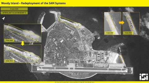 Satellite images provided to CNN on June 11 show before and after images of Woody Island.
