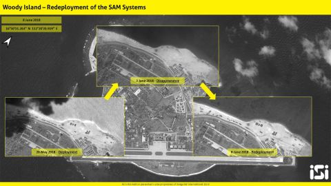 The images provided by ISI show missile launchers on Woody Island on May 20 and June 8.