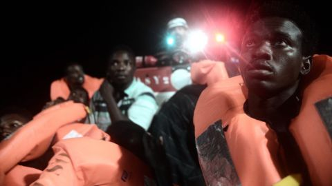Rescue boat carrying migrants from off the coast of Libya.