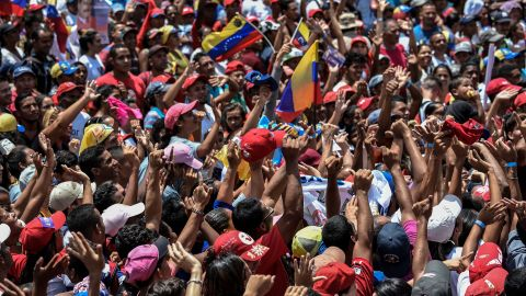 A supporter of Venezuelan President Nicolas Maduro cheers during a campaign rally in Charallave, about 65 km from Caracas, on May 15, 2018.