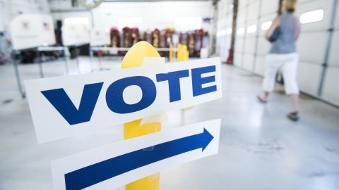 UNITED STATES - JUNE 12: A voter arrives at the Philomont, Va fire station in Virginia's 10th Congressional district, Rep. Barbara Comstock's district, on primary election day in Virginia on Tuesday, June 12, 2018. (Photo By Bill Clark/CQ Roll Call)