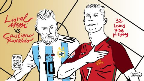 Gianluca Costantini is famous in his native Italy for his satirical drawings. Here he depicts rival superstar footballers Lionel Messi and Cristiano Ronaldo in advance of the Russia 2018 World Cup. Click or scroll for some of his other depictions of the the key moments of the tournament.
