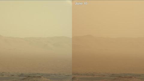These two views from NASA's Curiosity rover -- from June 7, left, and June 10 2018 -- show how dust increased over three days from a major Martian dust storm that became planet-encircling on June 20, 2018. Opportunity was stranded in the middle of the storm and wasn't heard from afterward.