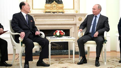 Russian President Vladimir Putin meets with senior North Korean official Kim Yong-nam in Moscow