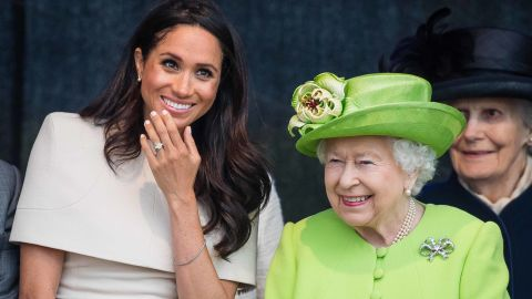 Meghan, Duchess of Sussex and Queen Elizabeth II open the new Mersey Gateway Bridge on June 14 in Widness, England.